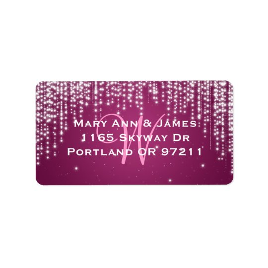 Elegant Wedding Address Night Dazzle Berry Pink Label