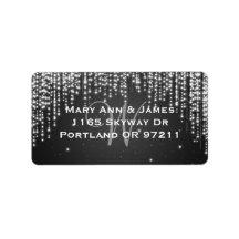 Elegant Wedding Address Night Dazzle Black Personalized Address Label