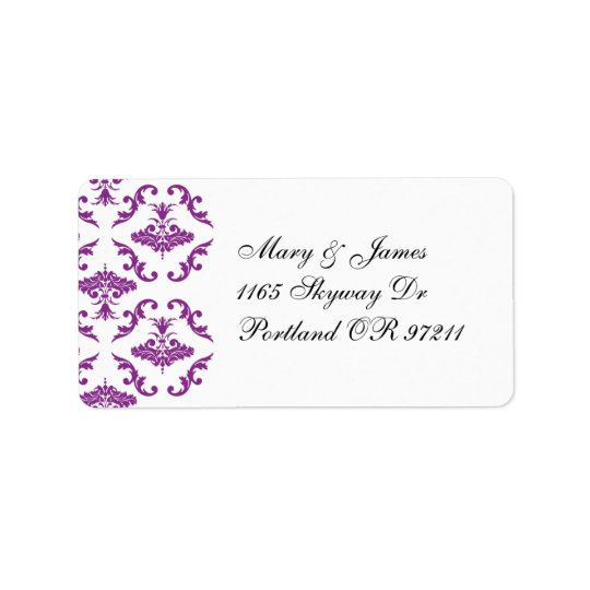 Elegant Wedding Address Purple Damask