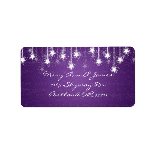 Elegant Wedding Address Shimmering Stars Purple Label