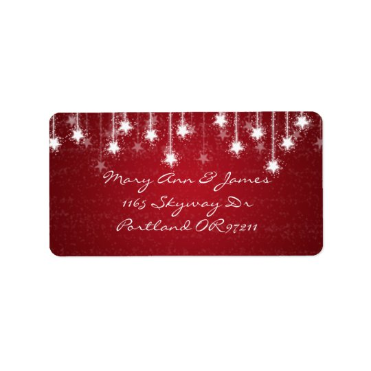 Elegant Wedding Address Shimmering Stars Red