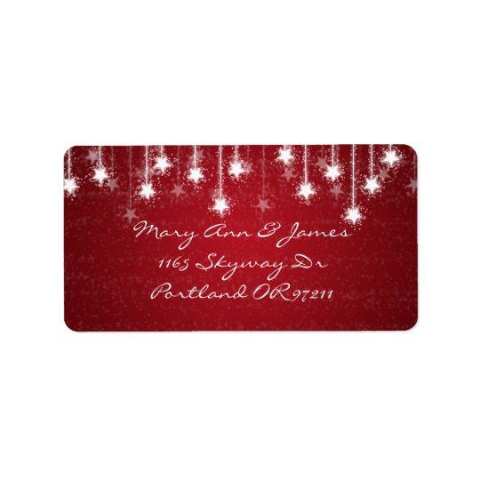 Elegant Wedding Address Shimmering Stars Red Label