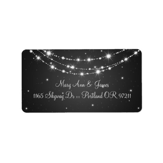 Elegant Wedding Address Sparkling Chain Black