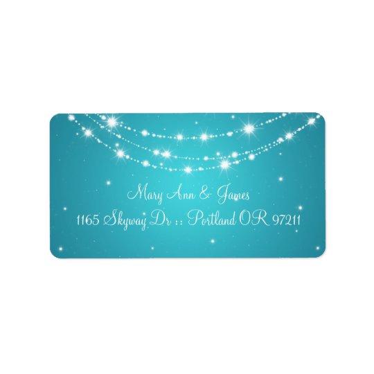 Elegant Wedding Address Sparkling Chain Blue Label