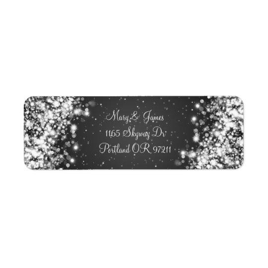 Elegant Wedding Address Sparkling Wave Black Return Address Label