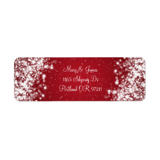 Elegant Wedding Address Sparkling Wave Red Return Address Label