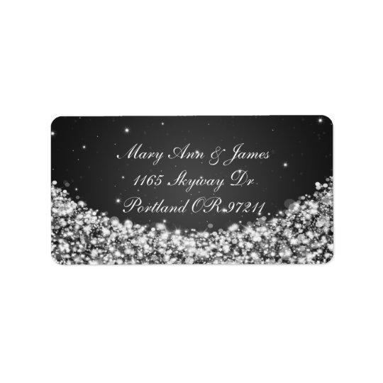 Elegant Wedding Address Star Sparkle Black Label
