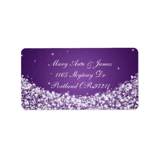 Elegant Wedding Address Star Sparkle Purple