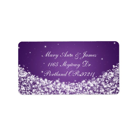 Elegant Wedding Address Star Sparkle Purple Label