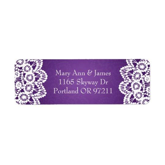 Elegant Wedding Address Vintage Lace Purple