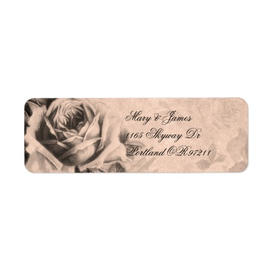 Elegant Wedding Address Vintage Roses Sepia Return Address Label