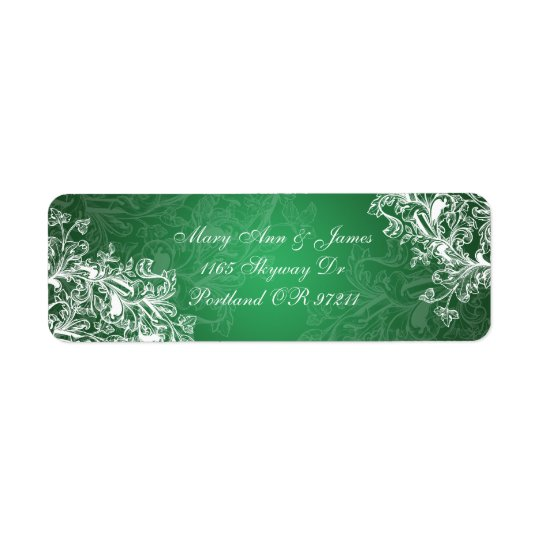 Elegant Wedding Address Vintage Swirls  Green
