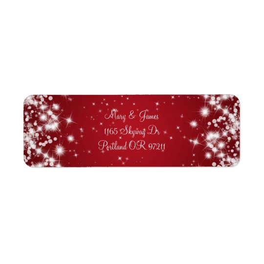 Elegant Wedding Address Winter Sparkle Red Return Address Label