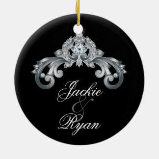 Elegant Wedding Anniversary 25th Black Silver Ceramic Ornament
