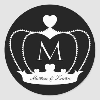 Elegant Wedding B&W Monogram Crown Sticker