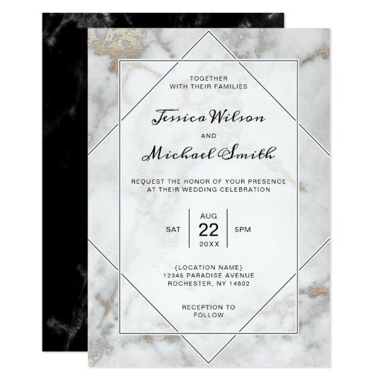 Elegant Wedding | Black and White Gold Marble Card