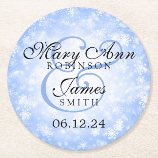 Elegant Wedding Blue Winter Wonderland Round Paper Coaster