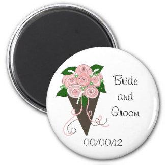 Elegant Wedding Bouquet Save the Date 2 Inch Round Magnet