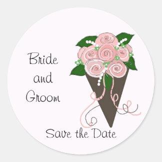 Elegant Wedding Bouquet Save the Date Round Sticker