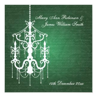 "Elegant Wedding Chandelier Emerald Green 5.25"" Square Invitation Card"