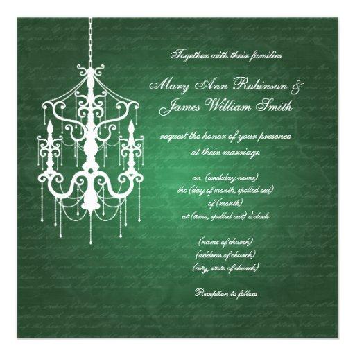 Elegant Wedding Chandelier Emerald Green Personalized Invite