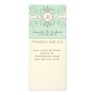 "Elegant Wedding Church Programs 4"" X 9.25"" Invitation Card"