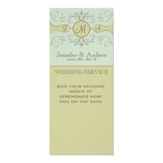 "Elegant Wedding Church Service Programs Sage 4"" X 9.25"" Invitation Card"