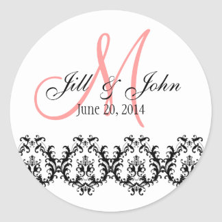 Elegant Wedding Coral Monogram Save the Date Classic Round Sticker