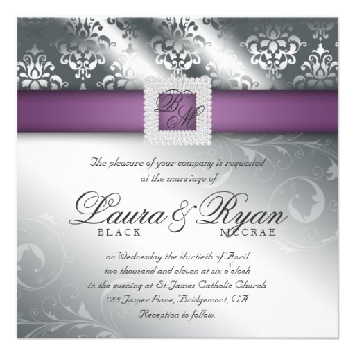Elegant Wedding Damask Jewel Purple Silver Personalized Invites