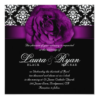 Elegant Wedding Damask Purple Rose Black White Card