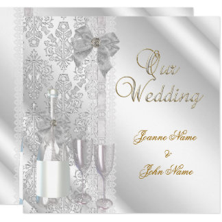 Elegant Wedding Damask Silver White Champagne Card