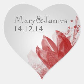 Elegant Wedding Date Beauty Of Nature Red Heart Sticker