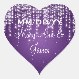 Elegant Wedding Date Night Dazzle Purple Heart Sticker