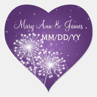 Elegant Wedding Date Summer Sparkle Purple Heart Sticker