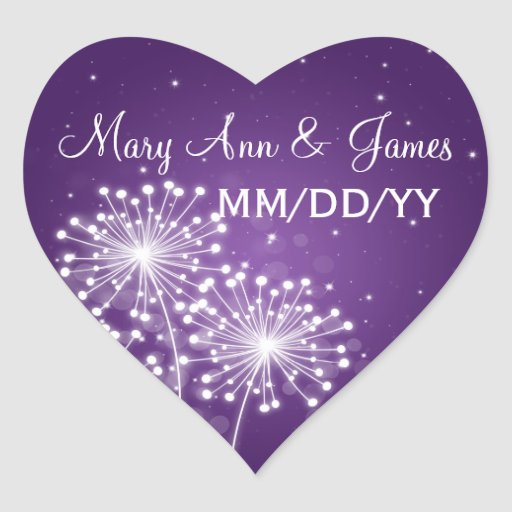 Elegant Wedding Date Summer Sparkle Purple Heart Stickers