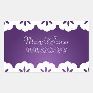 Elegant Wedding Date White Lace Purple Sticker