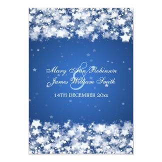 "Elegant Wedding Dazzling Stars Blue 5"" X 7"" Invitation Card"