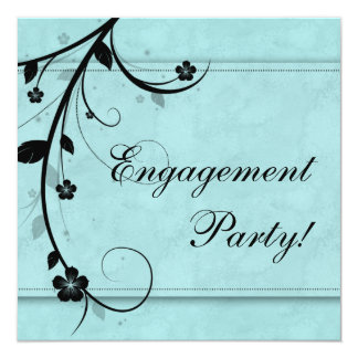 Elegant Wedding Engagement Party Floral Black Blue Card