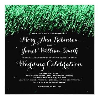 "Elegant Wedding Falling Stars ""Emerald Green"" 5.25"" Square Invitation Card"