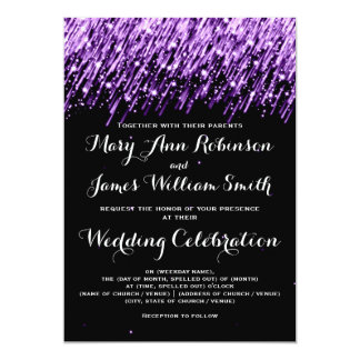 "Elegant Wedding Falling Stars Purple 5"" X 7"" Invitation Card"