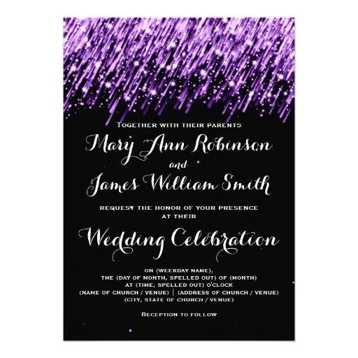Elegant Wedding Falling Stars Purple Custom Invites