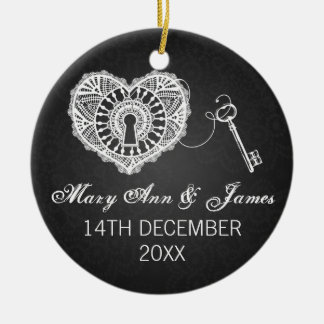 Elegant Wedding Favor Key To My Heart Black Round Ceramic Ornament