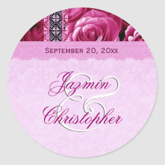 Elegant Wedding Favor PINK Roses and Lace V04 Round Sticker