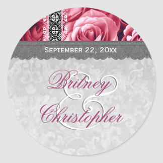 Elegant Wedding Favor PINK Roses and Lace V10 Round Sticker