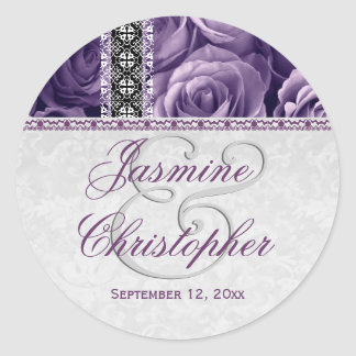 Elegant Wedding Favor PURPLE Roses and Lace V07 Classic Round Sticker
