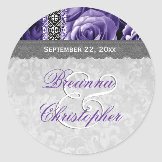 Elegant Wedding Favor PURPLE Roses and Lace V08 Round Sticker