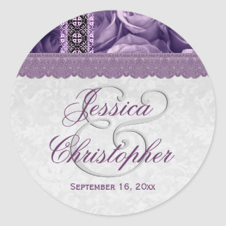 Elegant Wedding Favor PURPLE Roses V02 Round Sticker