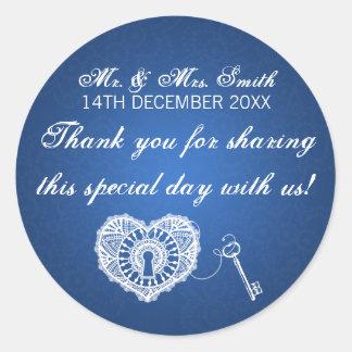 Elegant Wedding Favor Tag Key To My Heart Blue Round Sticker