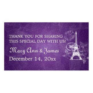 Elegant Wedding Favor Tag Romantic Paris Purple Business Card