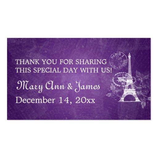 Elegant Wedding Favor Tag Romantic Paris Purple Business Card Templates